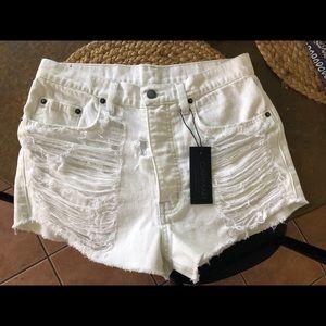 Carmar white denim cut off shorts